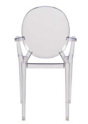 """Clear Resin """"Louis"""" Ghost Chair with Arms"""