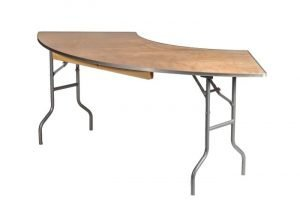 "84""x30"" Serpentine ""Heavy Duty"" Plywood Banquet Table, Metal Edge"