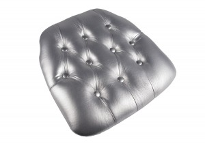 Silver Vinyl Wood Base Tufted Chiavari Chair Cushion