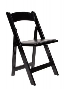 Black Wood Folding Chair with Black Seat