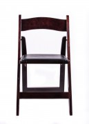 Samson Series Mahogany Wood Folding Chair with Black Vinyl Padded Seat