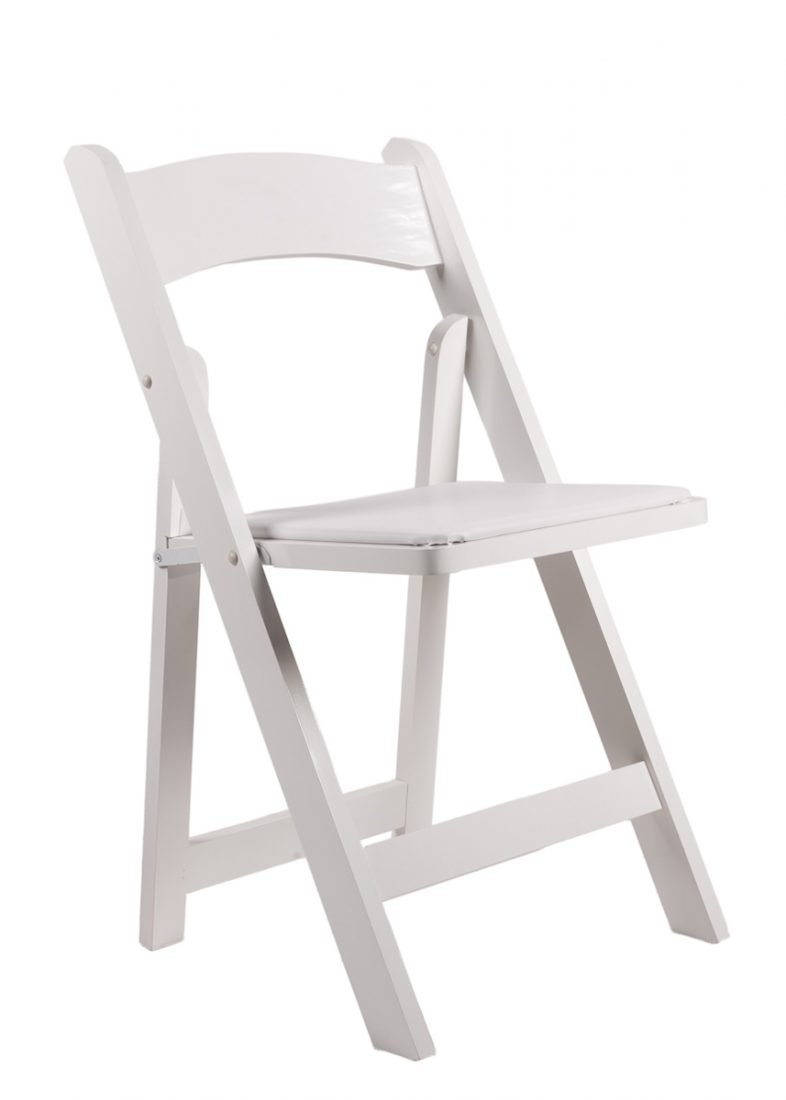 White Resin Folding Chair With White Vinyl Padded Seat