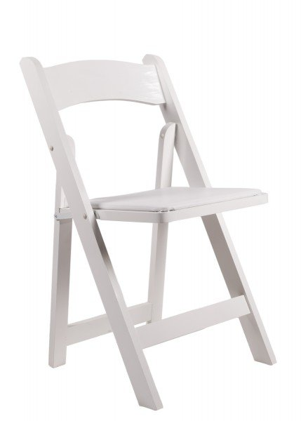 Samson Series White Wood Folding Chair with White Vinyl Padded Seat