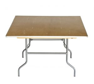 """48"""" Square """"Heavy Duty"""" Plywood Banquet Table, Metal Edge"""