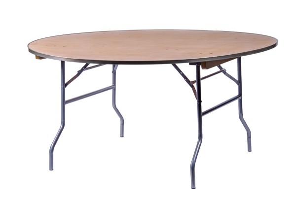 """60"""" Round """"Heavy Duty"""" Plywood Banquet Table with Metal Edge"""