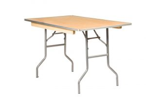 "48""x30"" Rectangle ""Heavy Duty"" Plywood Banquet Table, Metal Edge"
