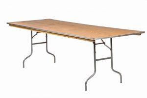 "96""x40"" Rectangle Extra Wide ""Heavy Duty"" Plywood Banquet Table, Metal Edge"