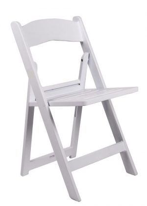 White Resin Folding Chair with Slatted Seat