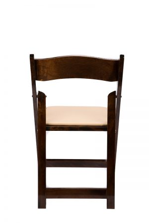 Fruitwood Wood Folding Chair with Tan Seat