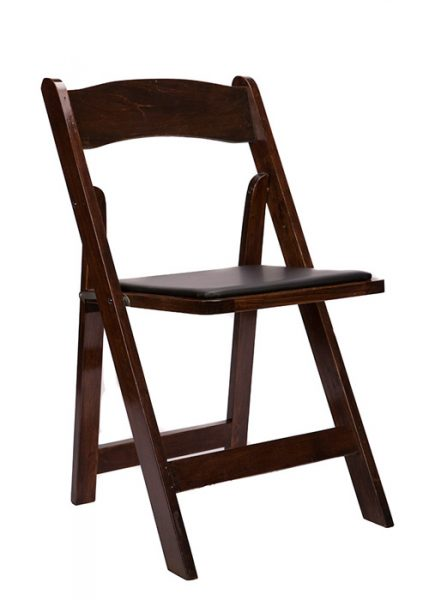 Fruitwood Wood Folding Chair with Black Seat