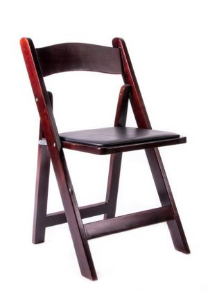 Mahogany Wood Folding Chairs with Black Seat