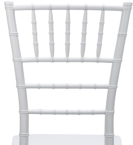 White Resin Mono-Bloc Chiavari Chair Back - Zoomed