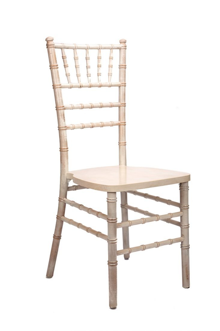 White Distressed Wood Stacking Chiavari Chair The