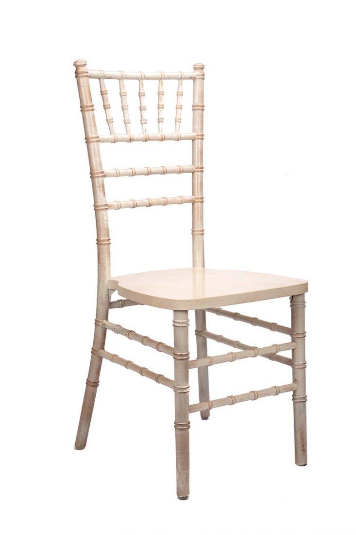 White Distressed Wood Stacking Ansi Bifma Certified Chiavari Chair