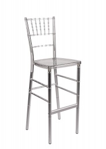 Fusion Clear & Silver Resin Barstool
