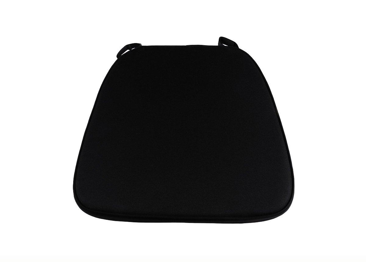 Black chair cushion - 2 Black High Density Velcro Strap Chiavari Chair Cushion