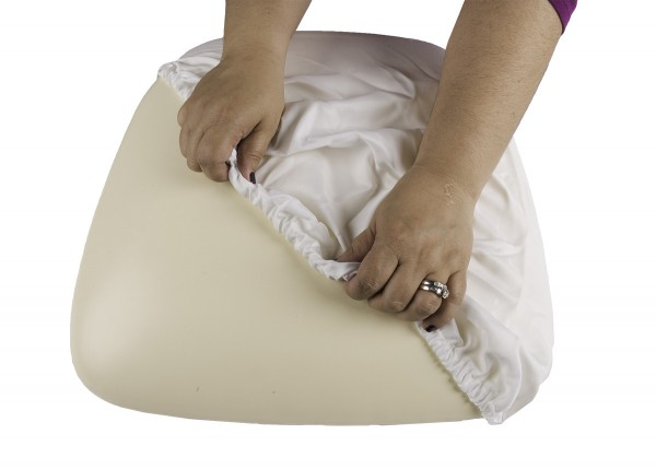 White Wood Base Cushion Cover
