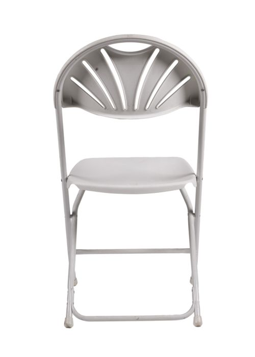 Samson Series White Plastic Fan Back Folding Chair