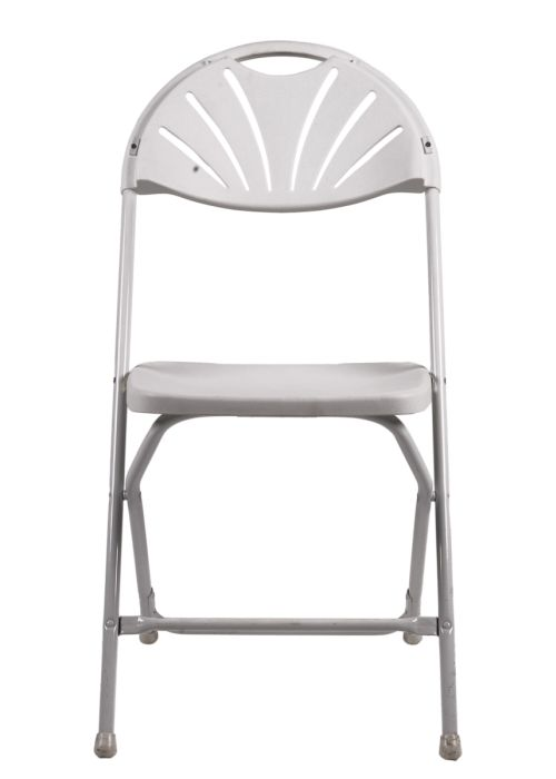 Samson Series White Plastic Fan Back Folding Chair ...