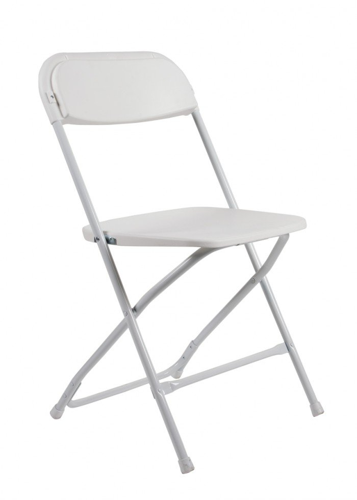 Samson Series White Plastic Folding Chair