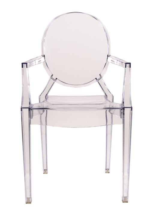 "Clear Resin ""Louis"" Ghost Chair with Arms"