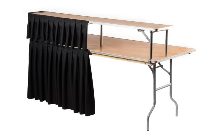 Rectangle Bar Top Riser For Rectangle Banquet Tables Includes Free Metal Edge Upgrade The Chiavari Chair Company