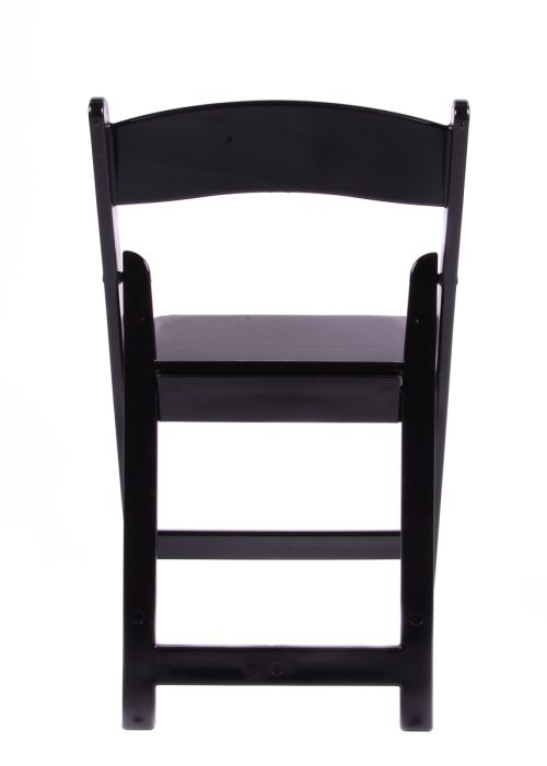 Black Resin Folding Chair with White Vinyl Padded Seat