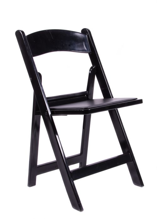Black Resin Folding Chair with Black Vinyl Padded Seat The Chiavari Chair C