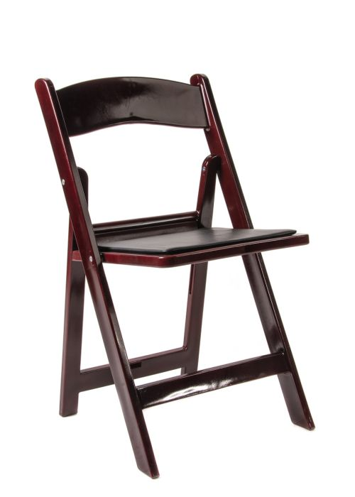 Mahogany Resin Folding Chair with Black Vinyl Padded Seat The Chiavari Chai