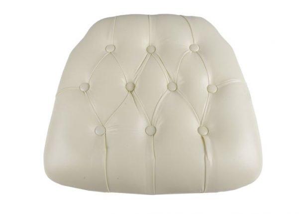 Ivory Vinyl Wood Base Tufted Chiavari Chair Cushion