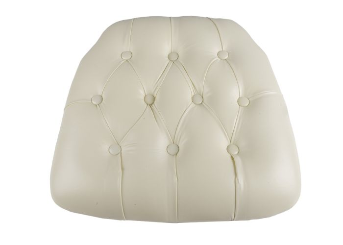 Ivory Vinyl Wood Base Tufted Chiavari Chair Cushion