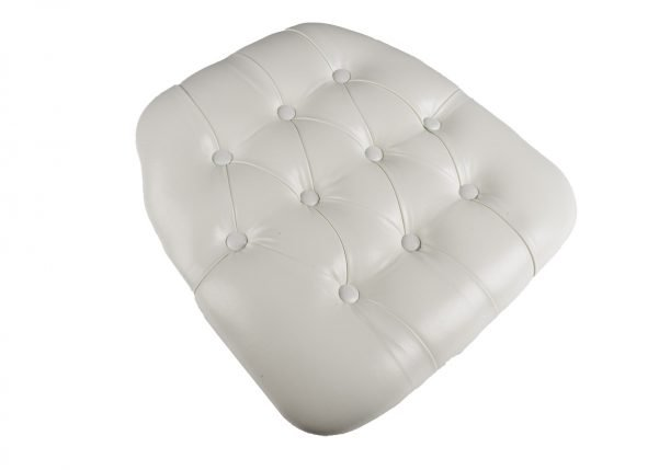 White Vinyl Wood Base Tufted Chiavari Chair Cushion