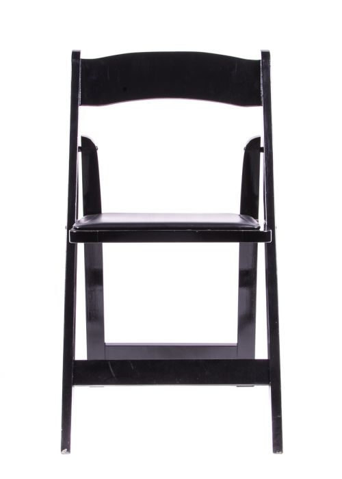Samson Series Black Wood Folding Chair with Black Vinyl Padded Seat