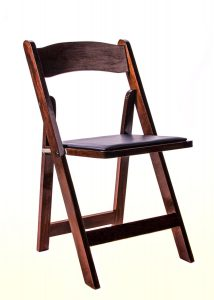 Fruitwood Folding Chair with Black Cushion