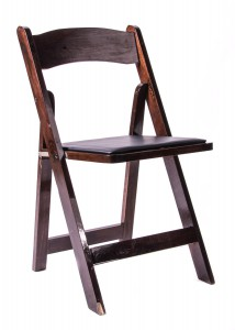 Samson Series Fruitwood Wood Folding Chair with Black Vinyl Padded Seat