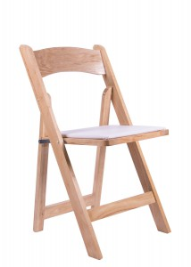 Samson Series Natural Wood Folding Chair with White Vinyl Padded Seat