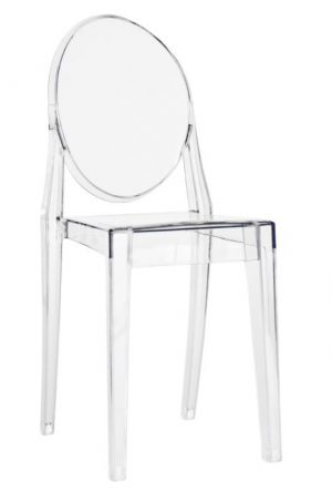 "Clear Resin ""Victoria"" Ghost Chair without Arms"