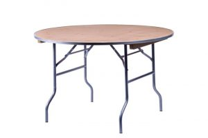 """48"""" Round """"Heavy Duty"""" Plywood Banquet Table with Metal Edge"""