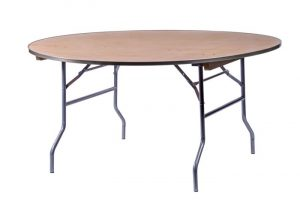 "60"" Round ""Heavy Duty"" Plywood Banquet Table with Metal Edge"