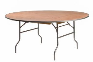 "72"" Round ""Heavy Duty"" Plywood Banquet Table with Metal Edge"