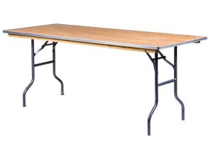 "72""x30"" Rectangle ""Heavy Duty"" Plywood Banquet Table, Metal Edge"
