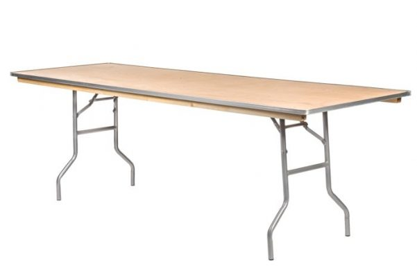 "96""x30"" Rectangle ""Heavy Duty"" Plywood Banquet Table, Metal Edge"