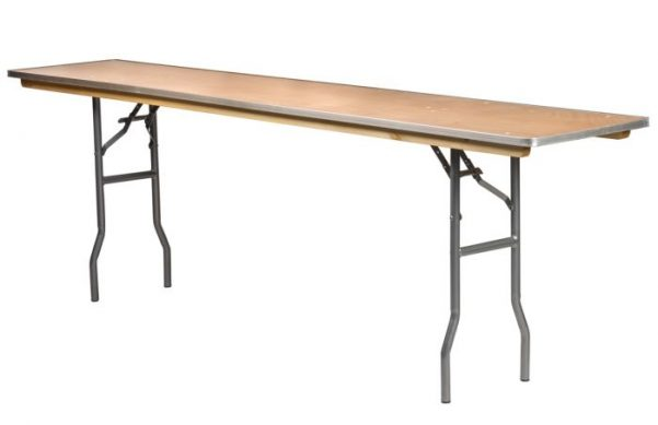 "96""x18"" Rectangle ""Heavy Duty"" Plywood Banquet Table, Metal Edge"