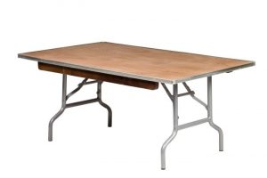 """48""""x30"""" Rectangle Children's Plywood Banquet Table, Metal Edge"""