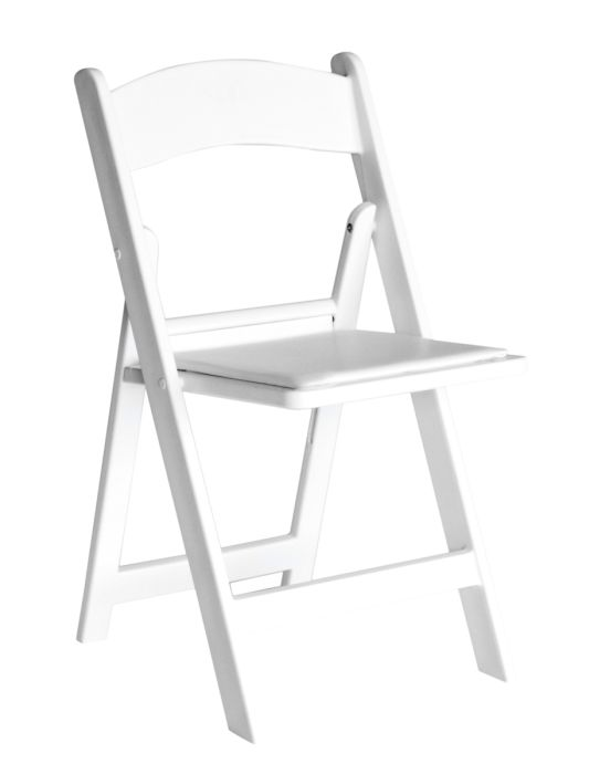 Fabulous White Resin Folding Chair With White Vinyl Padded Seat 1 Squirreltailoven Fun Painted Chair Ideas Images Squirreltailovenorg