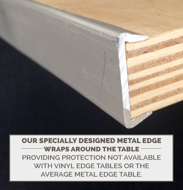 "60"" Half Round ""Heavy Duty"" Plywood Banquet Table, Metal Edge"