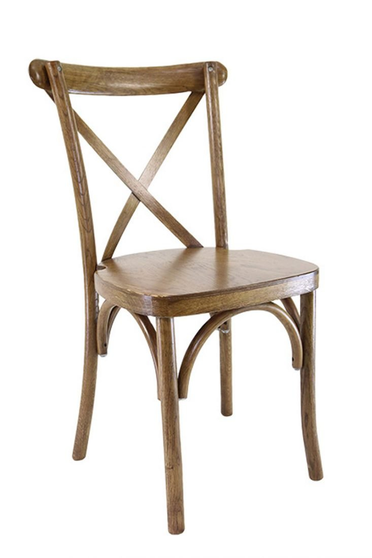 Charmant Chestnut Wood Cross Back Chair