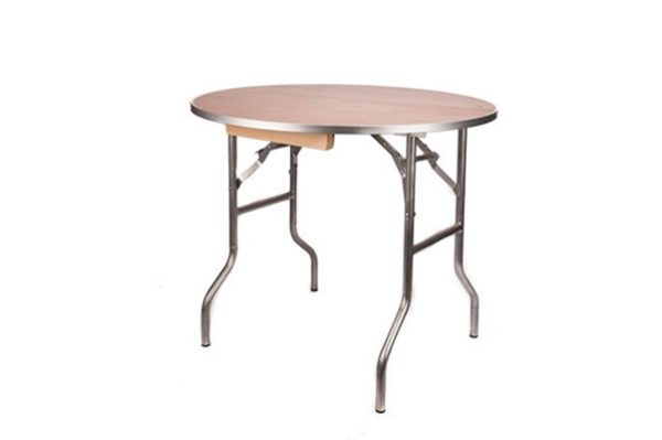 """36"""" Round """"Heavy Duty"""" Plywood Banquet Table with Metal Edge"""