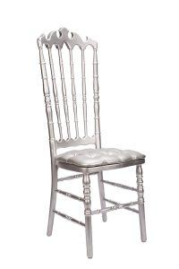Silver VIP Chair with Silver Tufted Vinyl Cushion