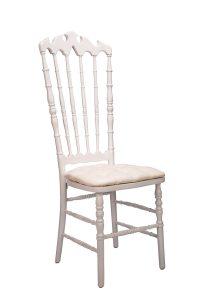 White VIP Chair with White Tufted Vinyl Cushion